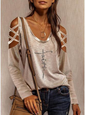 Sequins Letter Cold Shoulder Long Sleeves Casual Blouses