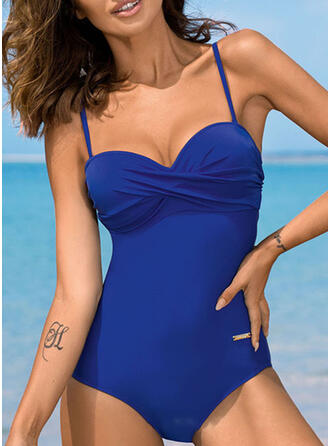 Solid Color Ruffles Strap V-Neck Sexy One-piece Swimsuits