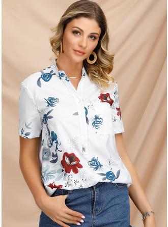 Print V Neck Short Sleeves Button Up Casual Elegant Blouses
