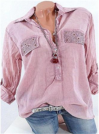 Cotton Lapel Plain Long Sleeves Button Up Blouses