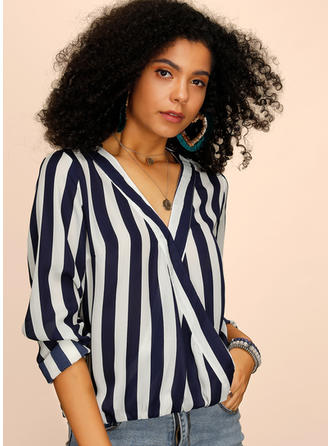 Striped V Neck Long Sleeves Casual Blouses