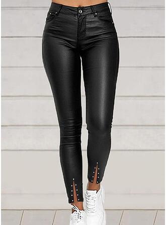 Sólido PU Largo Casual Tallas Grande Abetura Bolsillo Botones Pantalones
