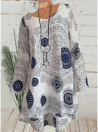 Print Long Sleeves Shift Asymmetrical Casual/Vacation Dresses