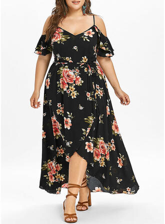 Print/Floral Short Sleeves/Cold Shoulder Sleeve A-line Asymmetrical Casual/Vacation/Plus Size Dresses