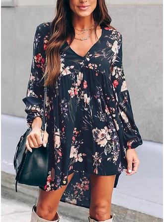 Print/Floral Long Sleeves Shift Asymmetrical Casual/Boho/Vacation Dresses