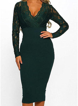 Lace/Solid Long Sleeves Bodycon Knee Length Casual/Party/Elegant Dresses