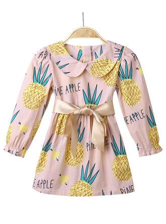 Dziewczyny Okrągły Dekolt Wydrukować Kokarda Nieformalny Sukienka