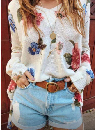 Floral V neck Sweaters