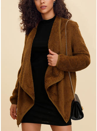 Polyester Long Sleeves Plain Wide-Waisted Coats Faux Fur Coats Cardigans