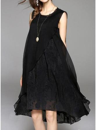Couleur Unie Sans Manches Droite Asymétrique Petites Robes Noires/Décontractée/Élégante Robes
