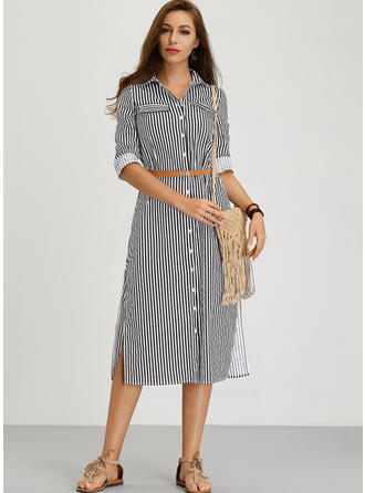 Striped 3/4 Sleeves A-line Midi Casual/Vacation Dresses