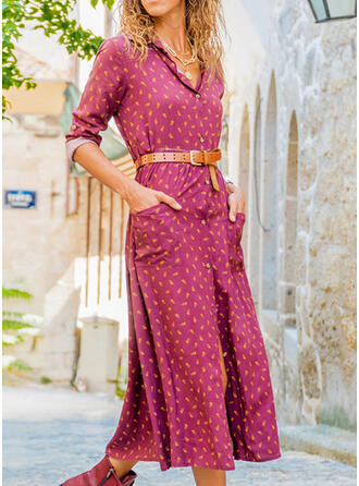 Print Long Sleeves A-line Casual/Vacation Midi Dresses