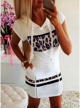 Print/Leopard Short Sleeves Bodycon Above Knee Casual Dresses
