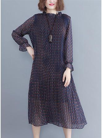 Print Long Sleeves Shift Midi Casual Dresses