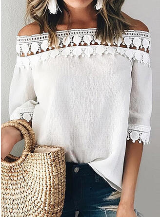Solide Kant Off the Shoulder 1/2 Mouwen Casual Blouses