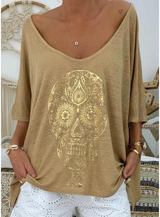 Print V-neck 3/4 Sleeves Casual Knit T-shirts