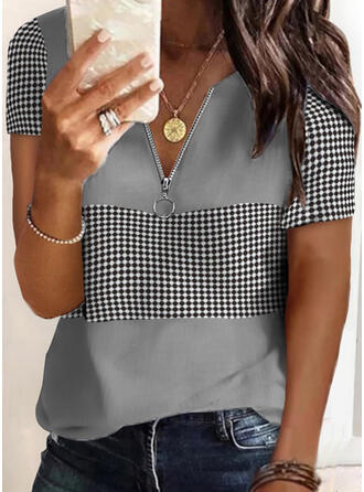 Print PolkaDot V-Neck Short Sleeves Casual Blouses