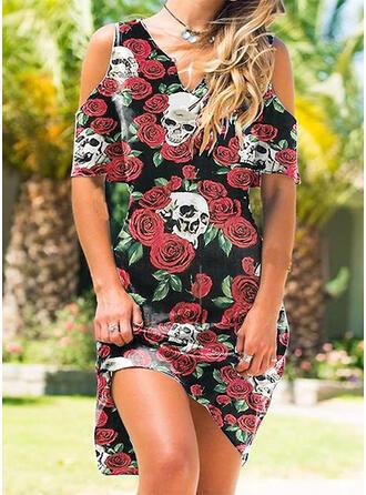 Druck/Blumen Kurze Ärmel silhouette Etuikleider Knielang Lässige Kleidung Tunika Kleider