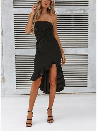 Solid Sleeveless Sheath Asymmetrical Little Black/Sexy/Party Dresses