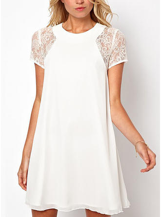Lace Round Neck Above Knee Shift Dress
