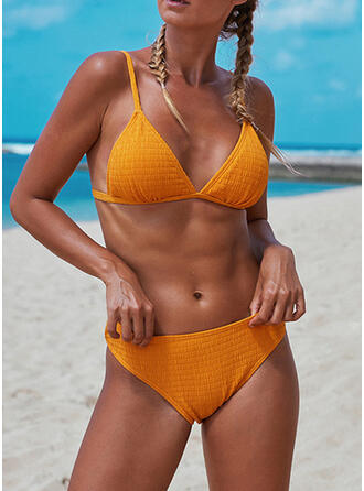 Solid Color Strap Sexy Fresh Bikinis Swimsuits