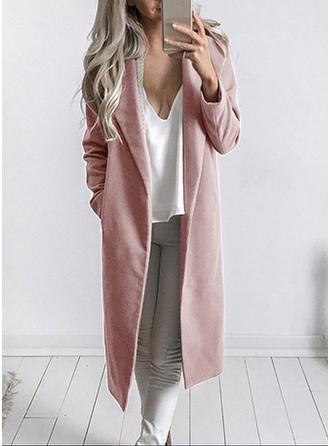 poliéster Manga larga Color sólido Abrigo lana