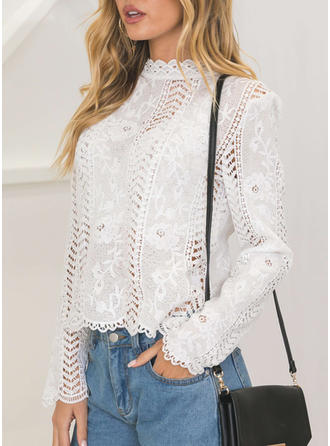 Solid Lace Stand collar Long Sleeves Casual Sexy Blouses