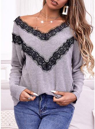 Impresión Encaje Cuello en V Casual Suéteres