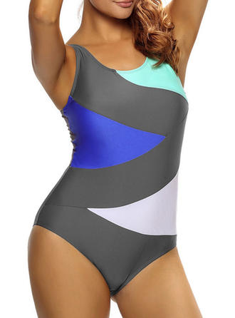 Colorful U Neck One-piece Swimsuit