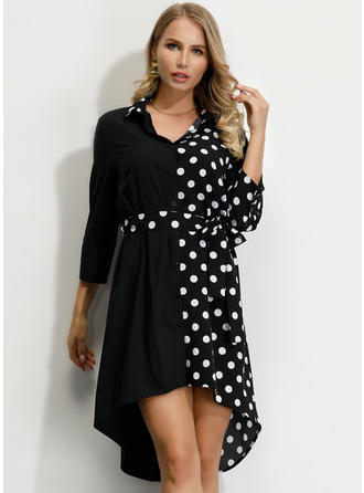 PolkaDot/Patchwork 3/4 Sleeves A-line Asymmetrical Casual Dresses