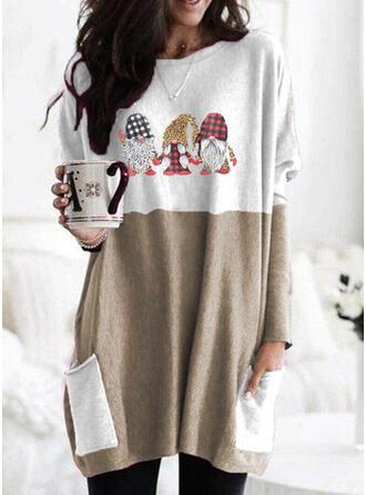 Print Grid Leopard Lommer rund hals Lange ærmer Jule sweatshirt