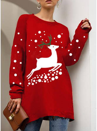 Print Cartoon Round Neck Ugly Christmas Sweater