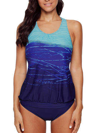 Splice color Strap Sports Tankinis Swimsuits