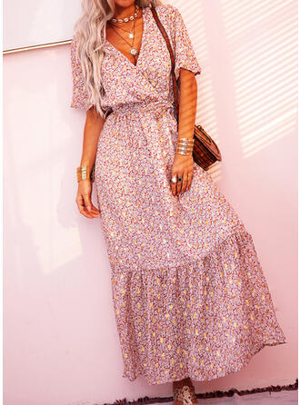 Print Short Sleeves A-line Wrap/Skater Casual/Boho/Vacation Maxi Dresses
