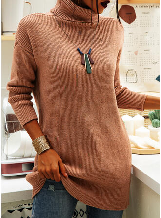 Solid Ribbed Chunky knit Turtleneck Casual Long Sweater Dress