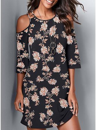 Print 3/4 Sleeves Shift Casual/Plus Size Midi Dresses