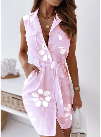 Print/Floral Sleeveless Sheath Above Knee Casual Shirt Dresses