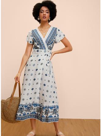 Print/Floral Short Sleeves A-line Midi Casual/Boho/Vacation Dresses