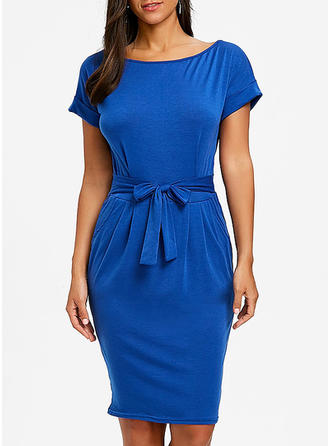 Solid Bateau Above Knee Bodycon Dress