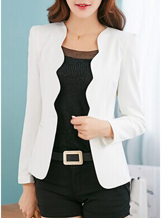 Cotton Long Sleeves Plain Blazers