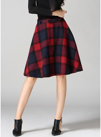 Woollen Plaid Knee Length A-Line Skirts