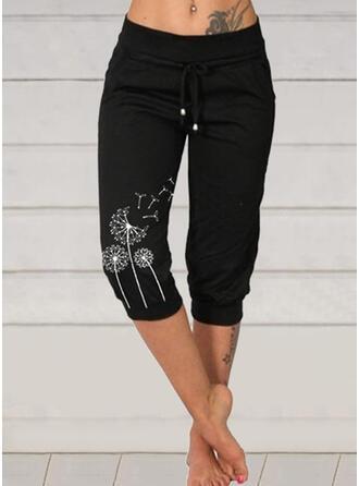 Print Dandelion Capris Casual Plus Size Drawstring Pants
