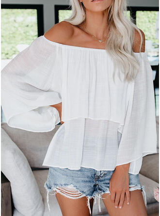 Solid Off the Shoulder Flare Sleeve Long Sleeves Casual Blouses