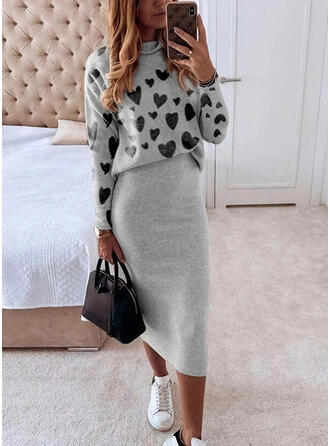 Print/Hart Lange Mouwen Bodycon Casual Medium Jurken