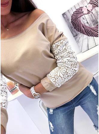 Solid Lace One-Shoulder Long Sleeves Casual Knit Blouses