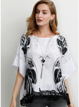 Print Lace Round Neck Batwing Sleeve 1/2 Sleeves Casual Blouses