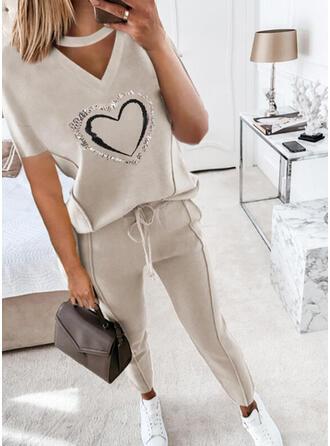 Corazón Impresión Casual Tallas Grande blusa & Conjuntos de dos piezas establecer