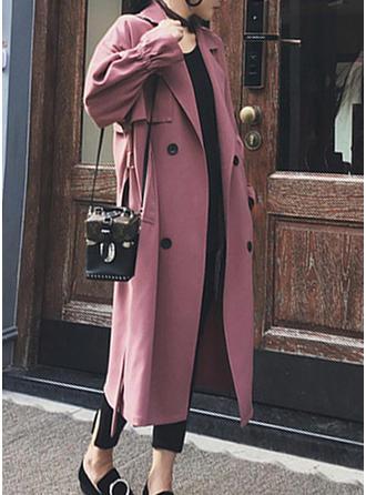 Długie rękawy Jednolity kolor Trencz Płaszcze