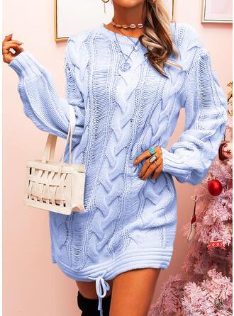 Μονόχρωμο Πλέξη Καλώδιο Στρογγυλός Λαιμός Καθημερινό Μακρύ Φόρεμα Πουλόβερ