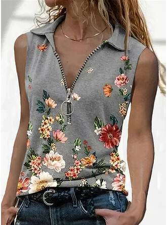 Estampado Floral Lapela Sem Mangas Casual Camisetas regata